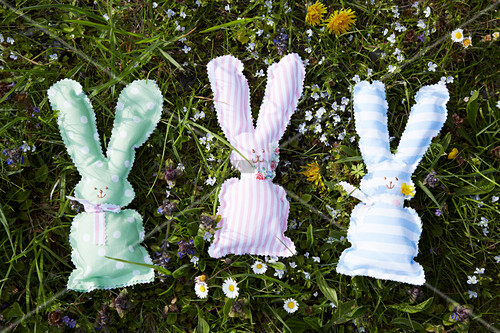 Easter bunnies made from fabric remnants