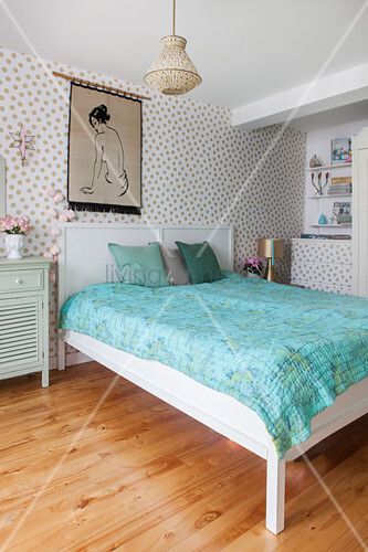 Polka-dot wallpaper pastel bedroom