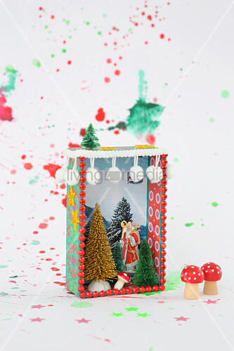 Hand-made, miniature, festive diorama