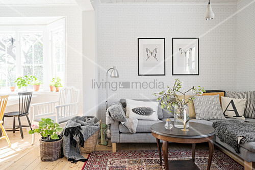 Open-plan living room in grey with light-flooded window bay