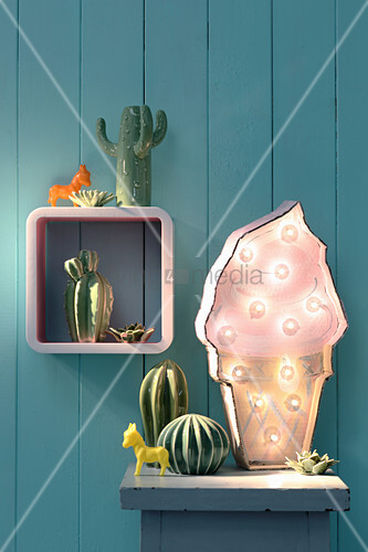 Hand-made lamp in shape of ice-cream cone and cactus ornaments