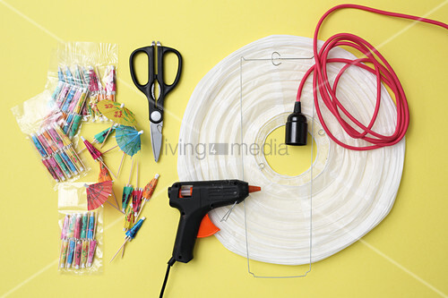 Materials for making a customised paper lamp with paper lampshade