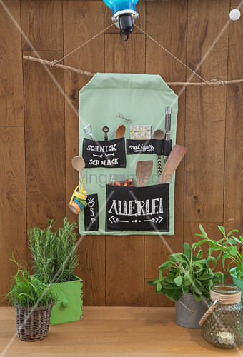 Handmade fabric organiser with chalkboard fabric labels