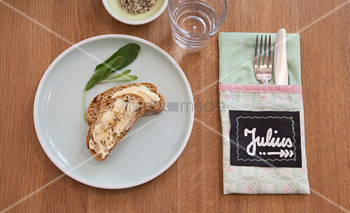 Handmade cutlery pouch with name tag made from chalkboard fabric