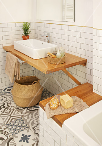 Wooden washstand and bathtub shelf