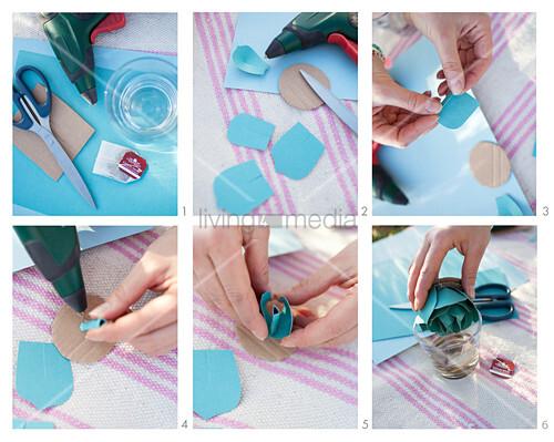 Anleitung für eine gebastelte Sukkulente aus blauem Papier