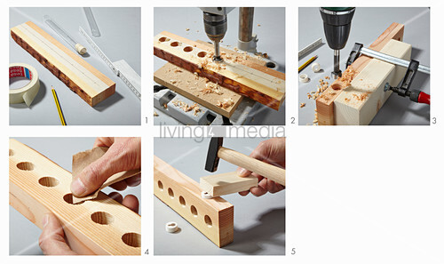 Instructions for making wooden wall-mounted rack for test tubes