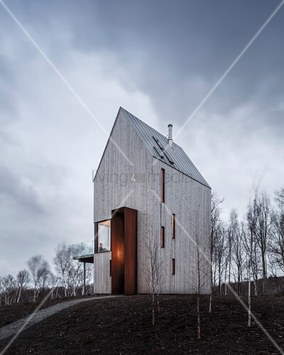 Modern house with wooden façade and vertical windows on a hill
