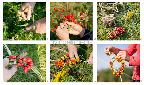Tying a wreath of rose hips and yellow flowers