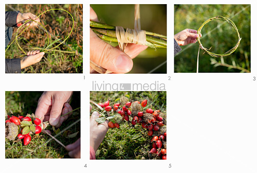 Tying a wreath of rose hips