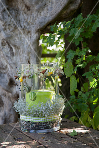 Candle lantern decorated with barbed wire plant and autumn fruits