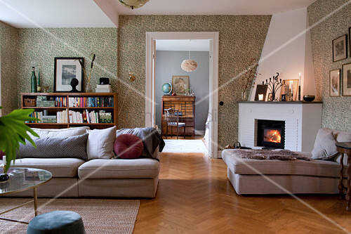 Pleasant living room in classic style with fireplace