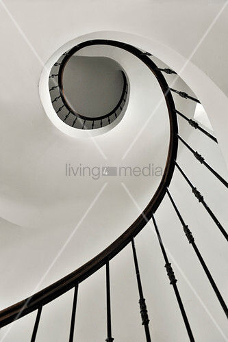 View from below up spiral staircase