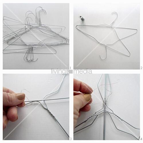 Lampenschirm aus Draht-Kleiderbügeln basteln