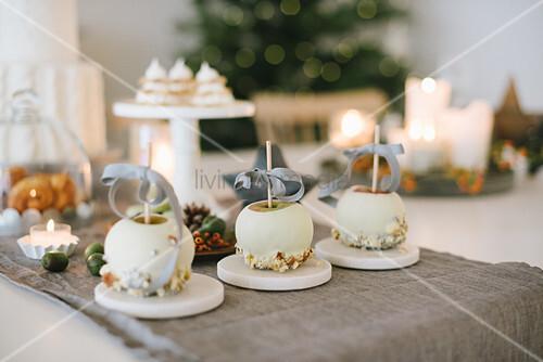 White chocolate apples on Christmas table