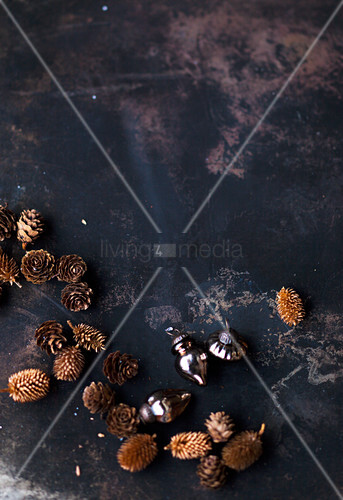 Various cones and baubles as Christmas decorations