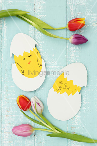 Craft paper Easter greetings cards shaped like hatching chicks