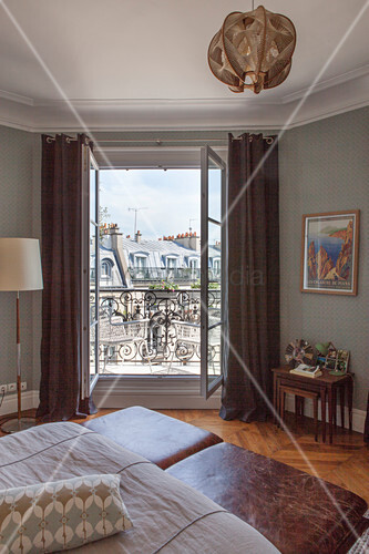 View through bedroom window of Parisian period building