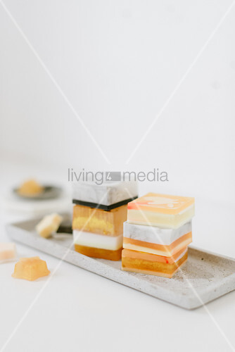 Stacks of handmade soaps on tray