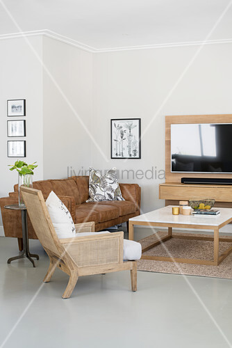 Simple living room in shades of grey and brown