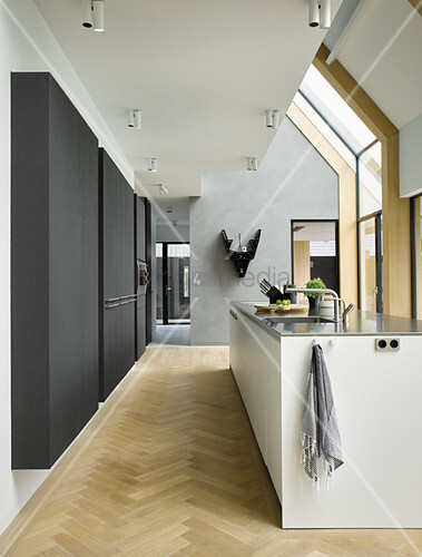 Open-plan kitchen in modern architect-designed house