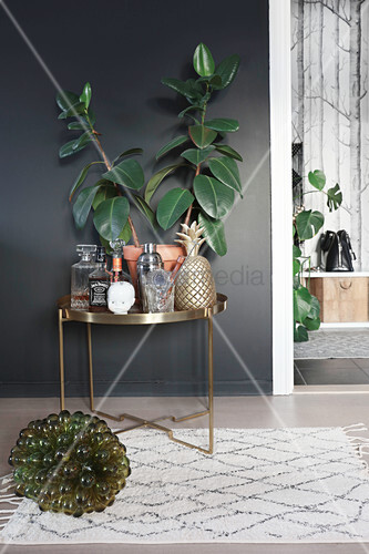 Rubber plant and drink decanters on golden table