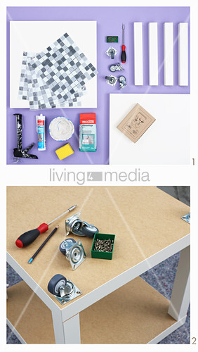 Instructions for making side table with mosaic top and castors
