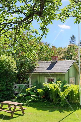 Kleines grünes Gartenhaus hinter hohem Farn im Sommergarten
