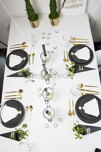 Handmade decorations on festively set table