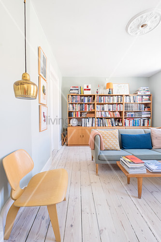 Bright living room in retro Scandinavian style