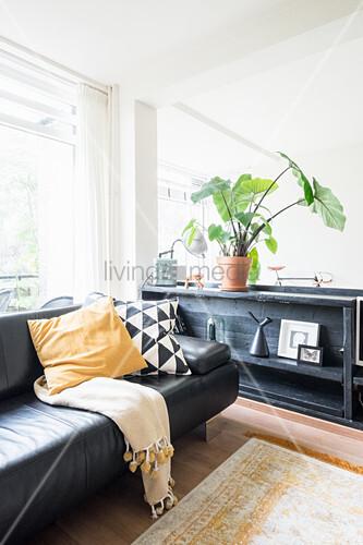 Schwarzes Ledersofa vor halbhohem Regal im hellen Wohnzimmer