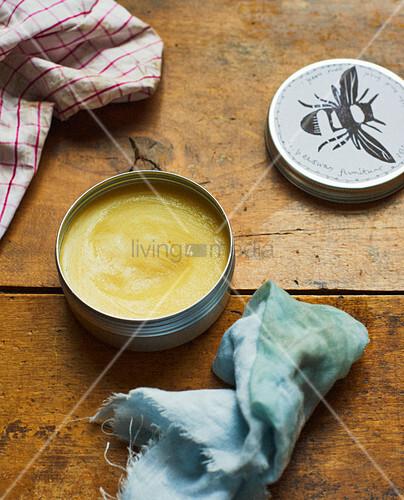 Tin of beeswax