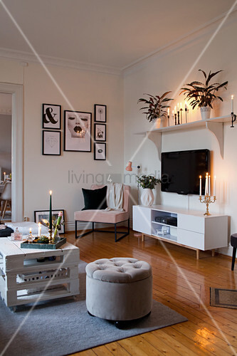 Bohemian-style living room with … – Buy image – 12531659 ...