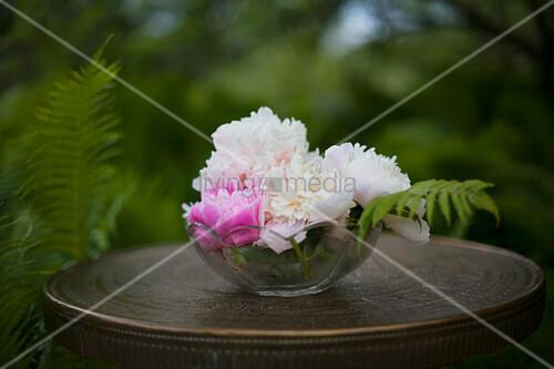 Glasschale mit Pfingsrosen auf dem Tisch im verwunschenen Garten