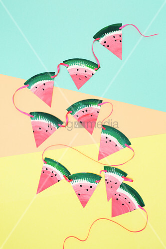 Watermelon bunting handmade from paper plates