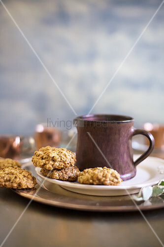 Christmas biscuits and mug on plate