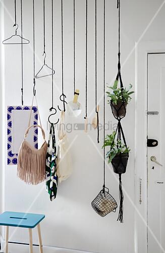 Diy Garderobe Aus Schwarzem Seil Und Bild Kaufen