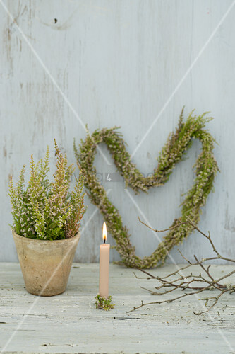 Heather planted in pot, used as candle holder and tied into heart-shaped wreath