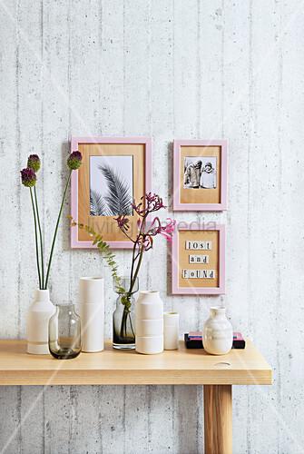 Homemade veneer mounts as wall decorations