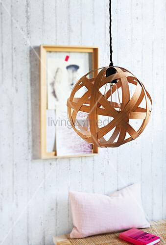 A homemade oak veneer lampshade