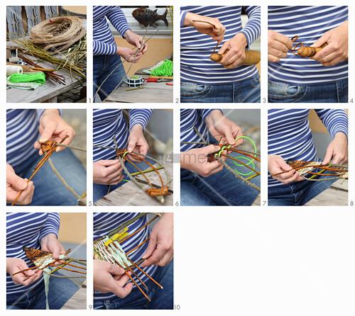 Anleitung für einen aus Weide und Schnur geflochtenen Fisch