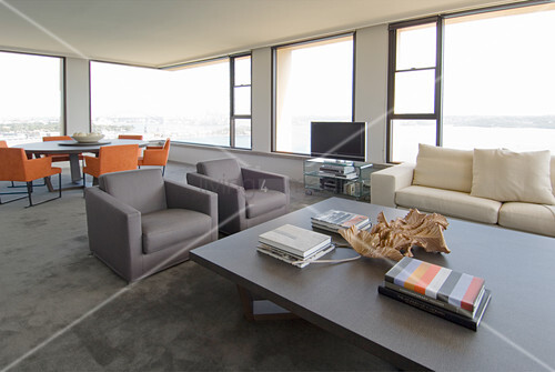 Modern interior with panoramic views through large windows