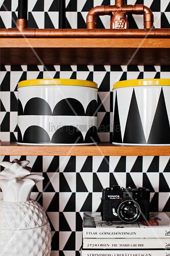 Storage jars decorated with black adhesive film