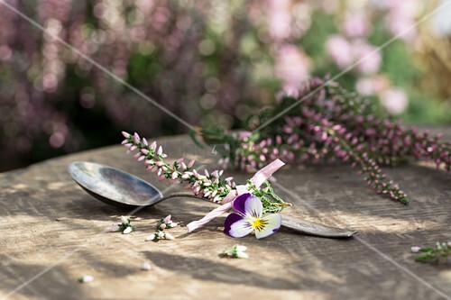 Kaffeelöffel mit Heidekraut und Hornveilchenblüte