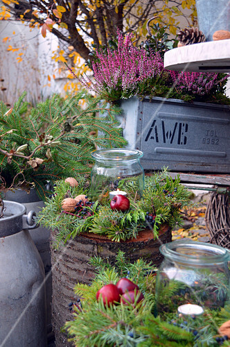 Autumn decoration with broom heath and autumn wreaths