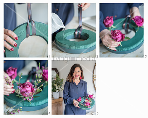 Instructions for making a Christmas wreath with roses