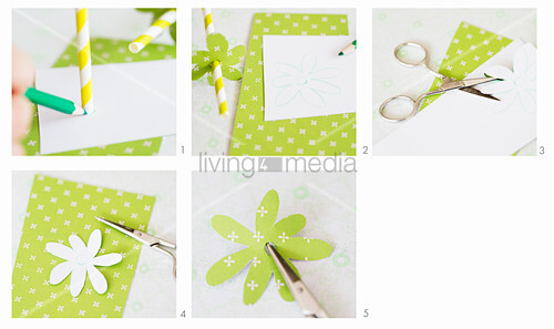 Making paper decorations for drinking straws