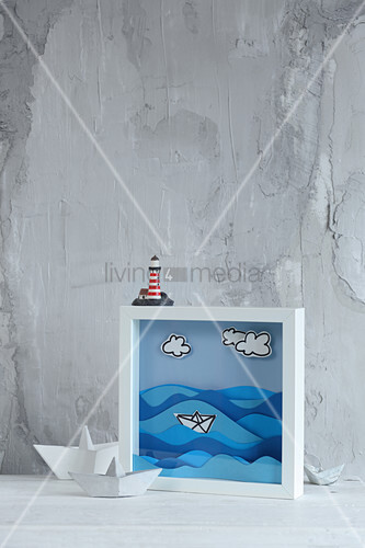 Maritime 3D picture with paper waves