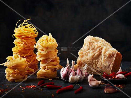 Pasta, garlic, chilli and parmasan cheese
