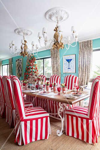 Chairs with red-and-white striped loose covers around festively set table